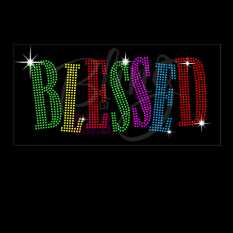 "Blessed (4.25x9.75"") Multicolor Rhinestone Bling Shirt - Bling By Bates"