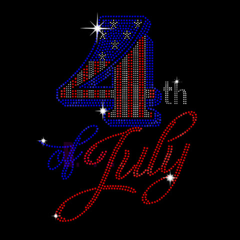 "4th of July (11x8.5"") Rhinestone Bling Shirt - Bling By Bates"