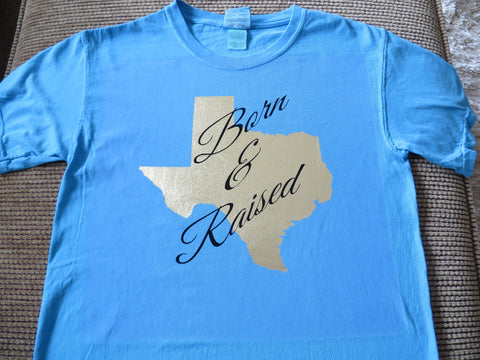 Texas Born & Raised, Hologram, Metallic, Glitter or Plain Vinyl  Bling Shirt - Bling By Bates