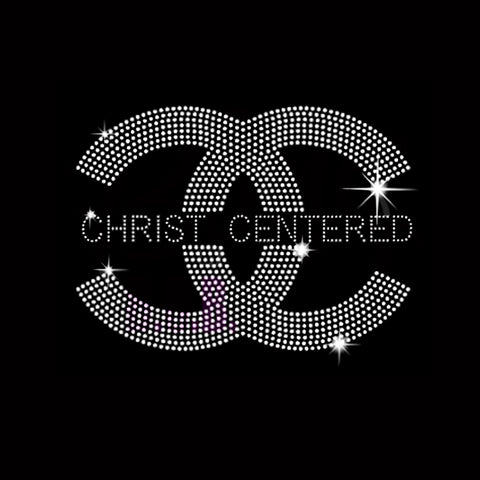 "Christ Centered (6x8.25"") Rhinestone Bling Shirt - Bling By Bates"