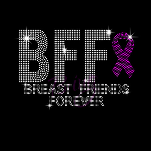 "BFF Breast Friends Forever (6x9.25"") Rhinestone Shirt - Bling By Bates"