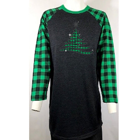 "Green Plaid Christmas Tree Rhinestone & Printed Vinyl (9.5x9.5"") Raglan Sleeve Shirt - Bling By Bates"