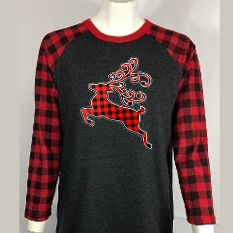 "Red Plaid Reindeer Rhinestone & Printed Vinyl (10x7.75"") Raglan Sleeve Shirt - Bling By Bates"