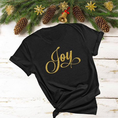 JOY (Glitter, Plain or Metallic Vinyl) Shirt - Bling By Bates