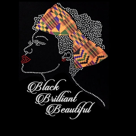 "Black Brilliant Beautiful (10.75x7.5"") Rhinestones & Printed Vinyl Shirt - Bling By Bates"