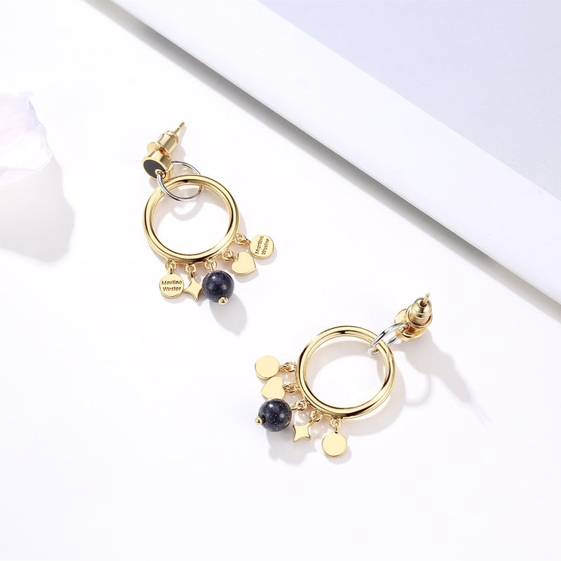 Moon Light Enamel Hoop Earrings