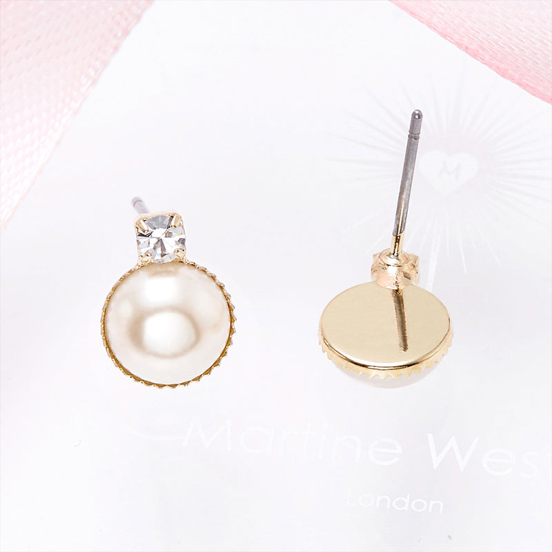 12K Gold-Plated Pearl Earrings