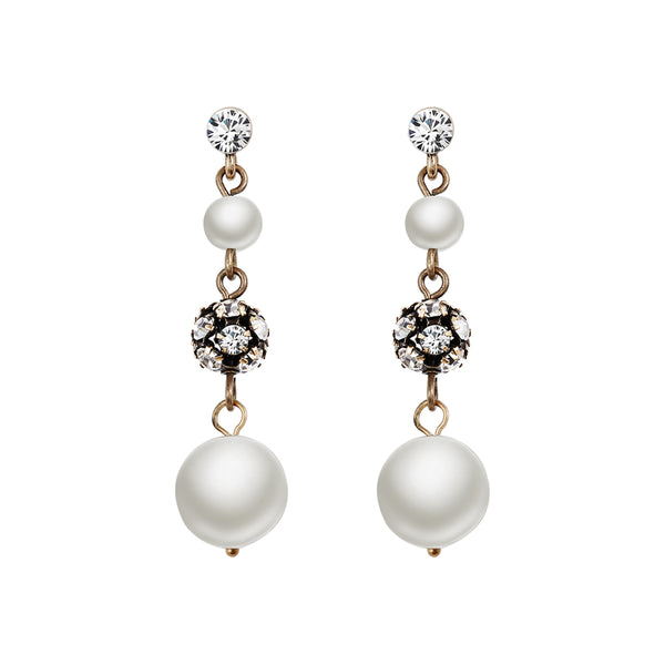 Black Nickel Ball Pearl Earrings