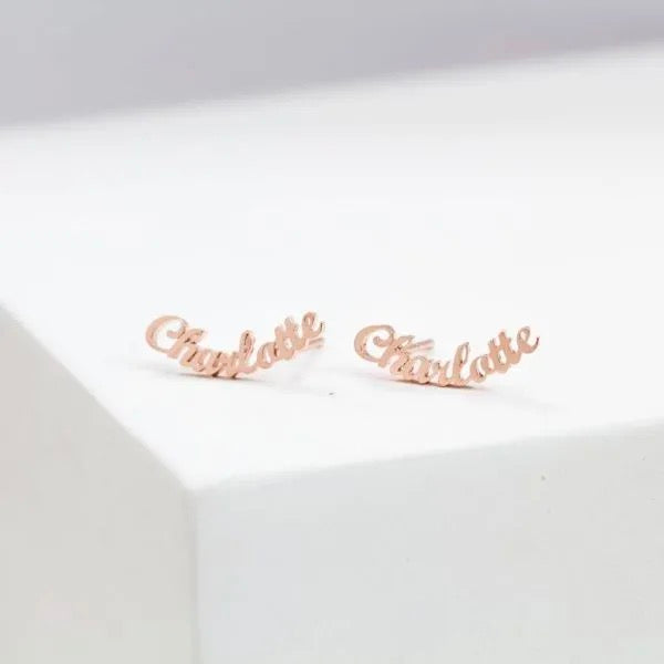 Personalized Cursive Name Earrings