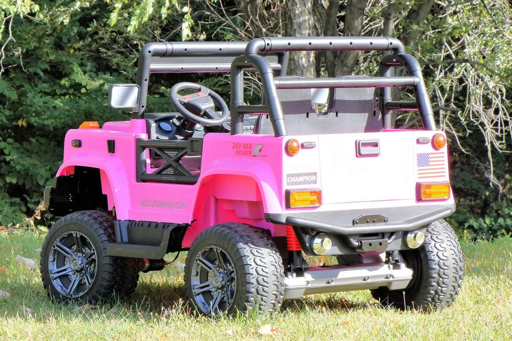 First Drive Large Jeep - 2 Seater - 24v Four Motor Kids Electric Ride-On Car with Remote Control,Bluetooth MP3 Playback, Aux Cord, Premium Wheels - Pink