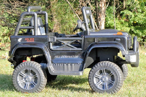 First Drive Large Jeep - 2 Seater - 24v Four Motor Kids Electric Ride-On Car with Remote Control,Bluetooth MP3 Playback, Aux Cord, Premium Wheels - Black""