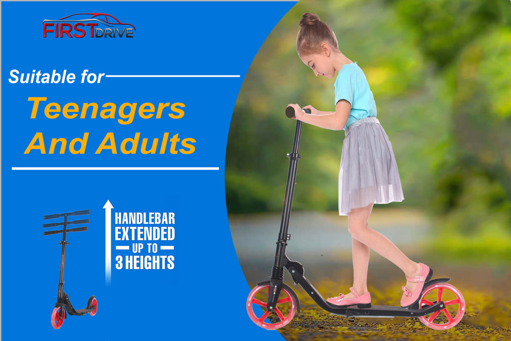 "First Drive Scooters for Kids 4 Years Old to Adult - Quick-Release Folding System - Front Suspension System + Scooter Shoulder Strap 7.9"" Big Red LED Wheels Great Scooters"