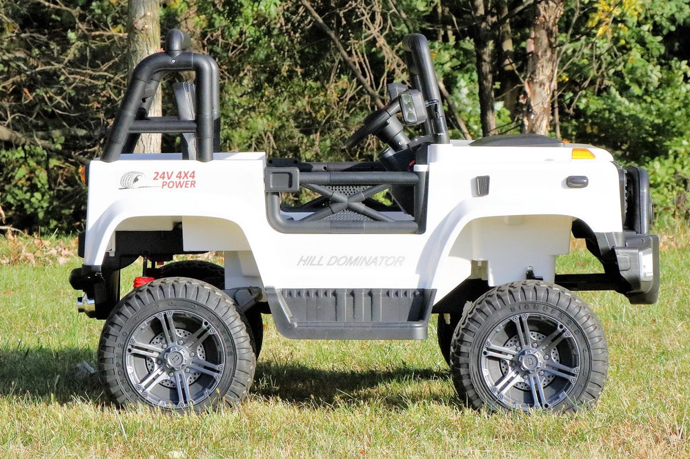 First Drive Large Jeep - 2 Seater - 24v Four Motor Kids Electric Ride-On Car with Remote Control,Bluetooth MP3 Playback, Aux Cord, Premium Wheels - WHITE