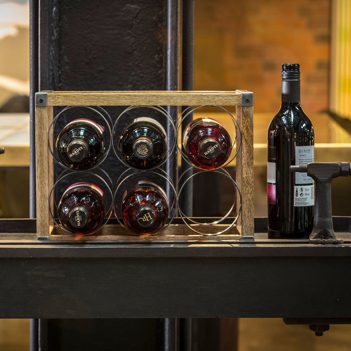 Industrial Kitchen Vintage-Style 6-Bottle Metal / Wooden Wine Rack