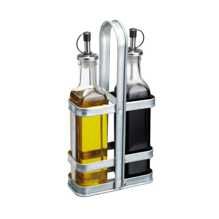 Industrial Kitchen Vintage-Style Glass Oil and Vinegar Cruet Set with Galvanised Steel Holder