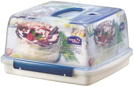 Lock & Lock Square Cake Box - Clear/Blue, 12.6 L