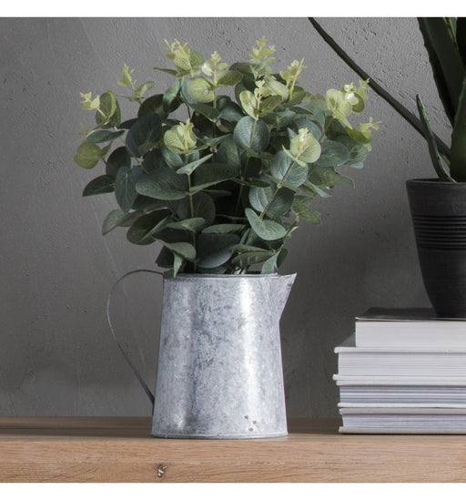 Faux Eucalyptus With Metal Jug