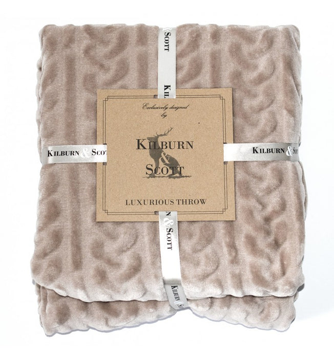 Cable Fleece Throw Natural