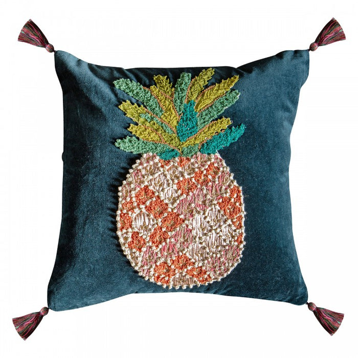 The Pineapple & Tassel Embroidered Cushion