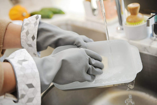 Splash Patrol Natural Latex Cleaning Gloves (Medium) - Grey