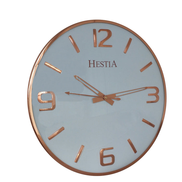 Hestia Wall Clock with Rose Gold Batons & Numbers