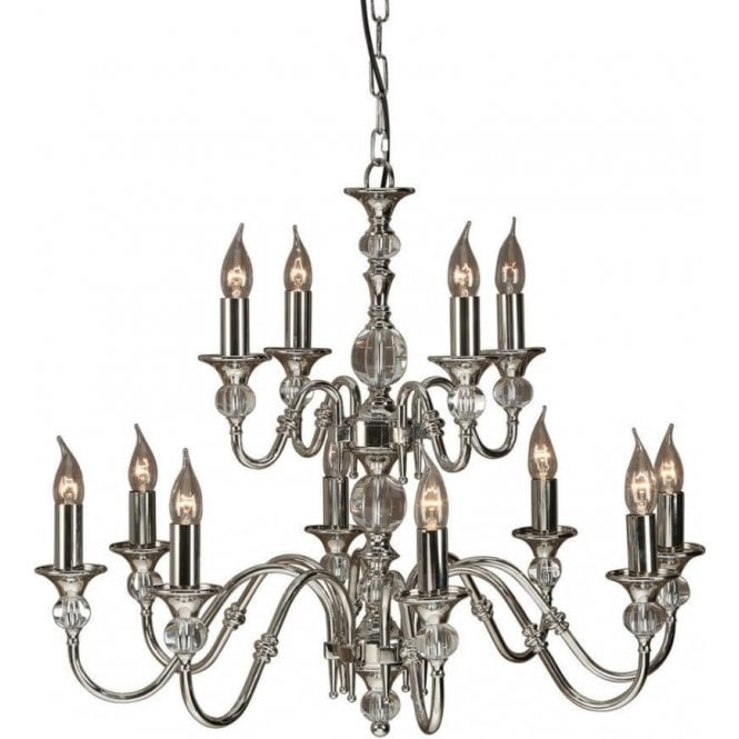 Polina Chandelier Polished Nickel Clear Glass 12 Light