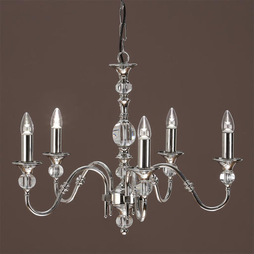 Polina Chandelier Polished Nickel Clear Crystal 5 Light