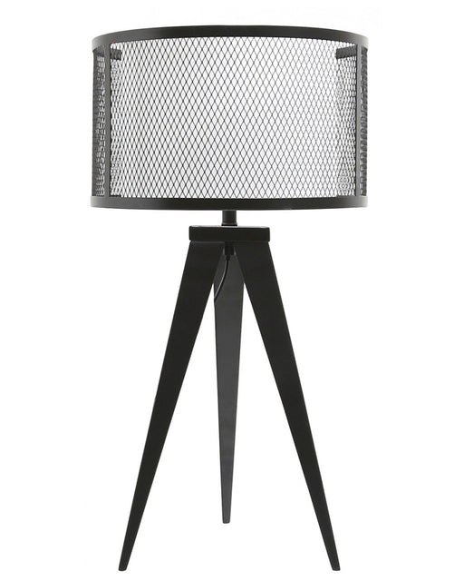 Black Hollywood Table Lamp With White Linen & Mesh Outer Drum Shade