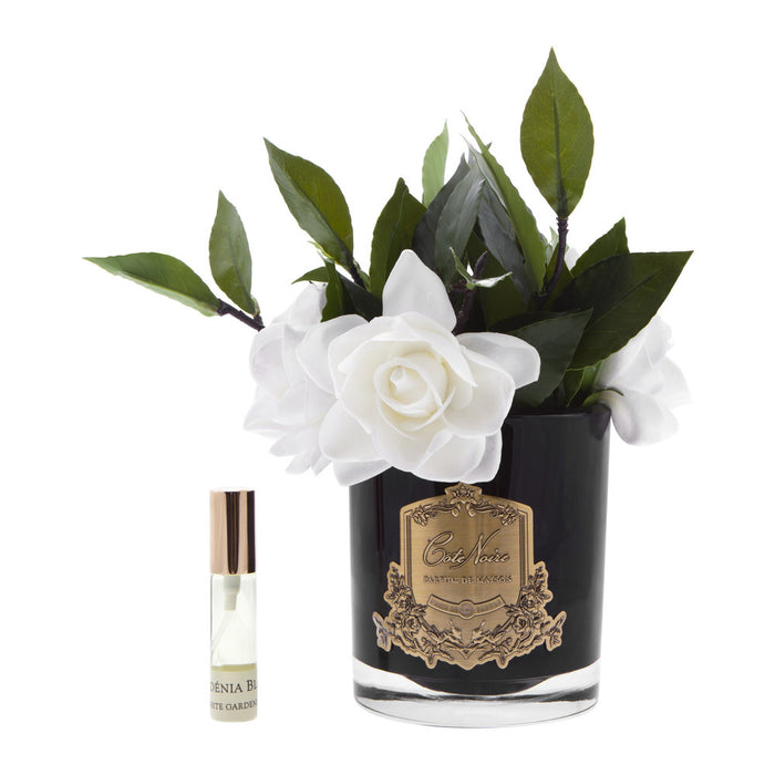 Gardenias in Glass - Black Vase