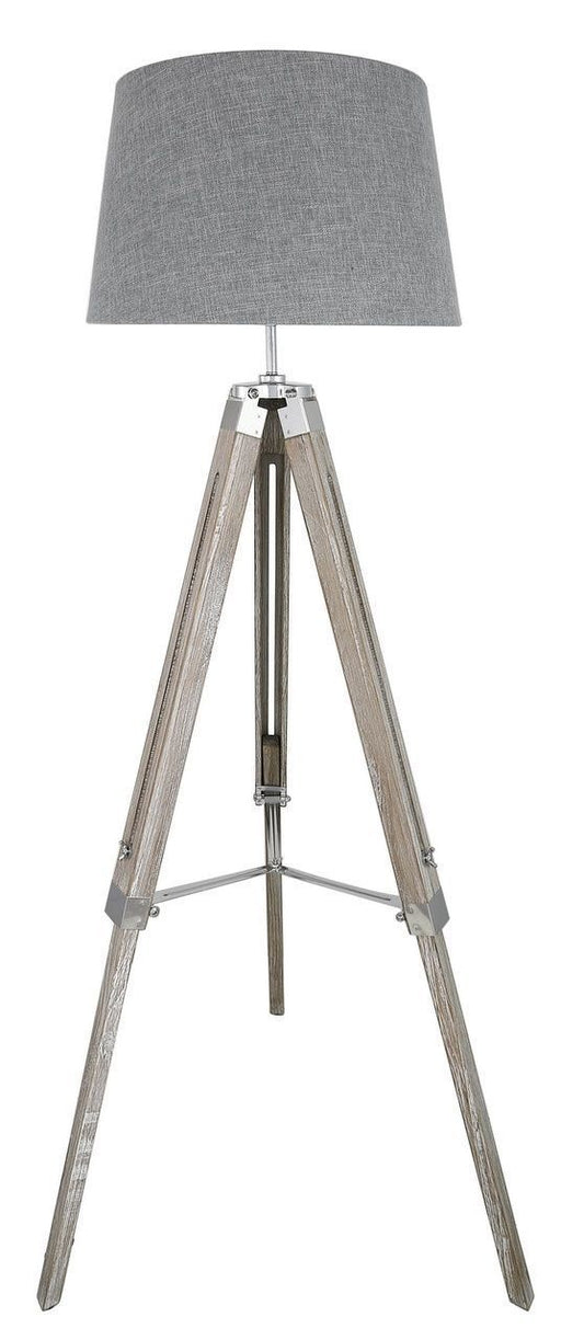 Natural Grey Hollywood Floor Lamp With Grey Shade