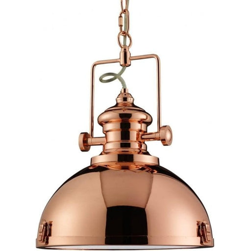 Copper Industrial Pendant Light with Frosted Lens Glass