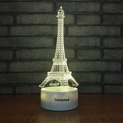 Crack Lighting Base Building The Eiffel Tower 3D Illusion Lamp Night Light 3DL041