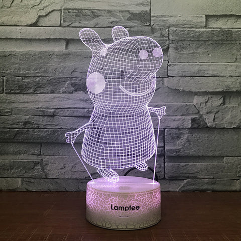 Image of Crack Lighting Base Anime Peppa Pig 3D Illusion Lamp Night Light 3DL1260