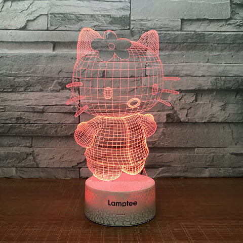 Image of Crack Lighting Base Anime Cute Hello Kitty 3D Illusion Lamp Night Light 3DL1402