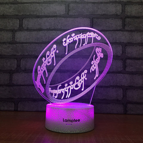 Crack Lighting Base Anime Lord of the Rings 3D Illusion Lamp Night Light 3DL2047