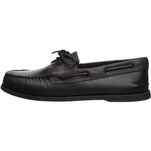 Sperry Mens A/O 2-Eye Boat Shoe, Black, 7 - crazyshoedeals.com