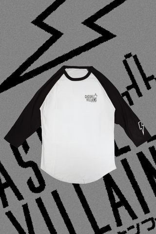 CASUAL VILLAINS RAGLAN - WHITE