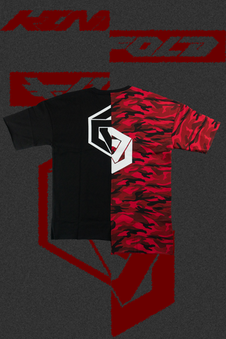 IMPERFECTION SPLIT CAMO OVERSIZED TEE: FIRESTORM