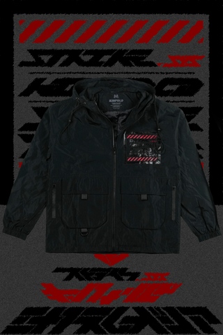 "SYNAPSE REGALIA // ""_STRIKE.SYS"" WATER RESISTANT JACKET [BLOOD//BLACK ORE]"