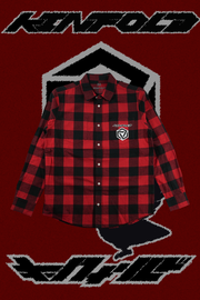 YATAGARASU NO TAIYOU CHECKERED BUTTON UP [AKAI]