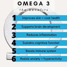 Load image into Gallery viewer, Promotes heart health and reduces inflammation, benefits of skin and health and ingredients, what does omega 3 do for dogs