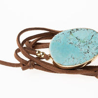 Suede Stone Wrap - Turquoise/Gold Stone of the Sky