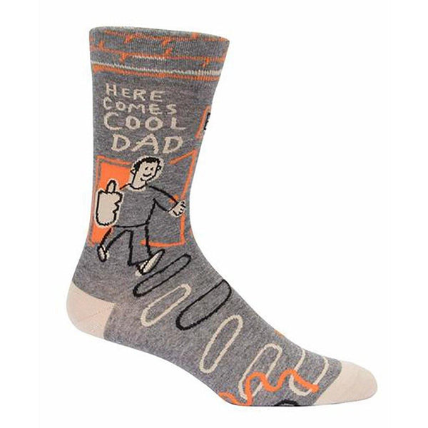 "Blue Q : Men's Crew Socks - ""Here Comes Cool Dad"""