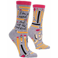 "Blue Q : Women's Crew Socks - ""I'm a Nerd, and Not The Cool Kind"""