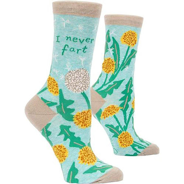 "Blue Q : Women's Crew Socks - ""I Never Fart"""