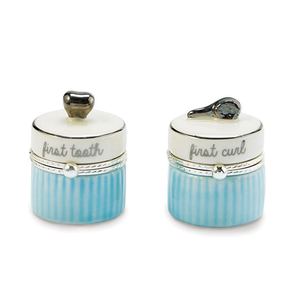 Mud Pie : Ceramic My First Tooth & Curl Set (Blue)
