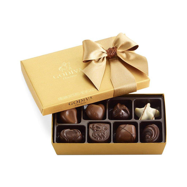 GODIVA : Assorted Chocolate Gold Gift Box, Classic Ribbon, 8 pc.