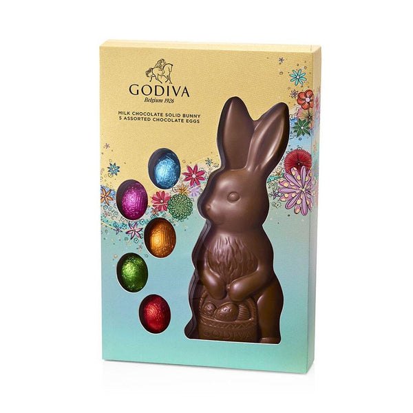 GODIVA : Solid Milk Chocolate Bunny with Foil-Wrapped Chocolate Eggs, 5 pc.