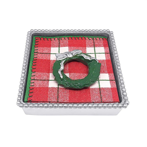 Mariposa : Green Wreath Beaded Napkin Box