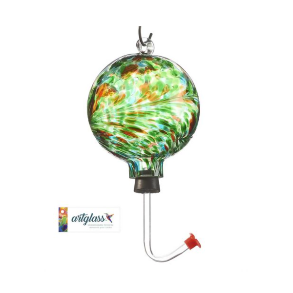 Glass Orb Hummingbird Feeder - Green Amber